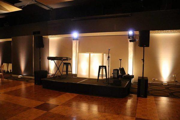 Greek Club Wedding - DJ Facade Mood Towers Warm White Uplights