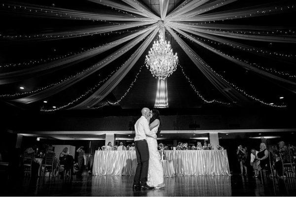 Greek Club Brisbane Wedding - Reception Bride & Groom Kiss