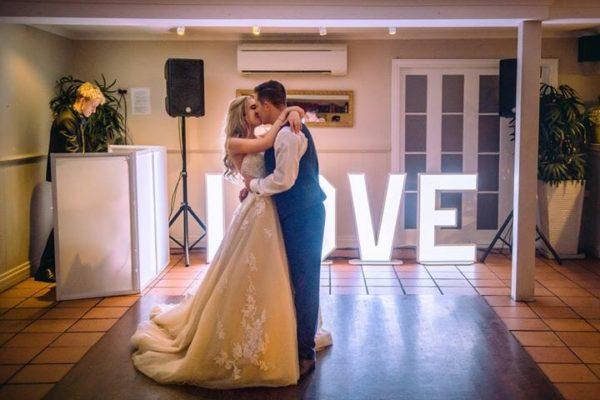 Hillstone St Lucia Wedding - Bride & Groom Dance Floor Kiss DJ Blair