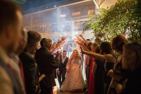 Hillstone St Lucia Wedding - Bride & Groom Sparkler Exit