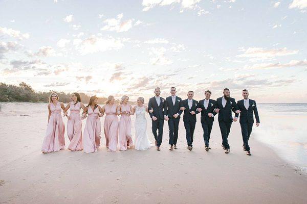 Rustic Hinterland Wedding - Bridal Party Beach Walk