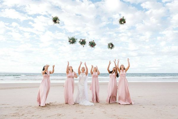 Rustic Hinterland Wedding - Bride and Bridesmaids at beach