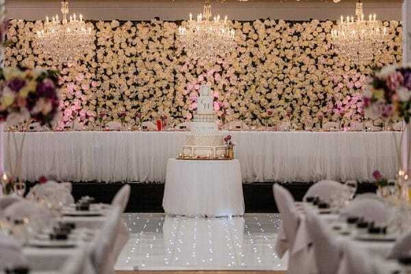 Stunning Wedding Lighting - Bridal table cake 1