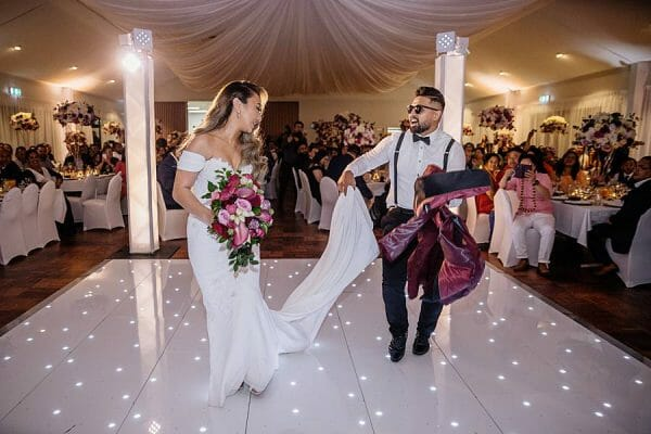 Stunning Wedding Lighting - Bride Groom Mood Towers Warm White Starlight Dance Floor 1