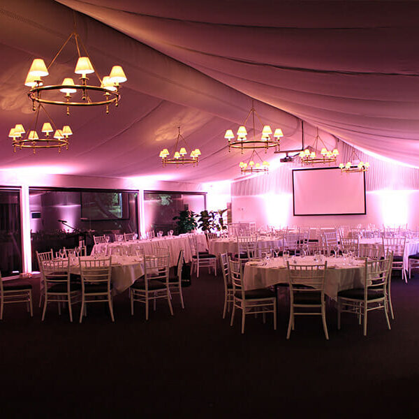 APRICOT UPLIGHTING | Garden Marquee at Victoria Park