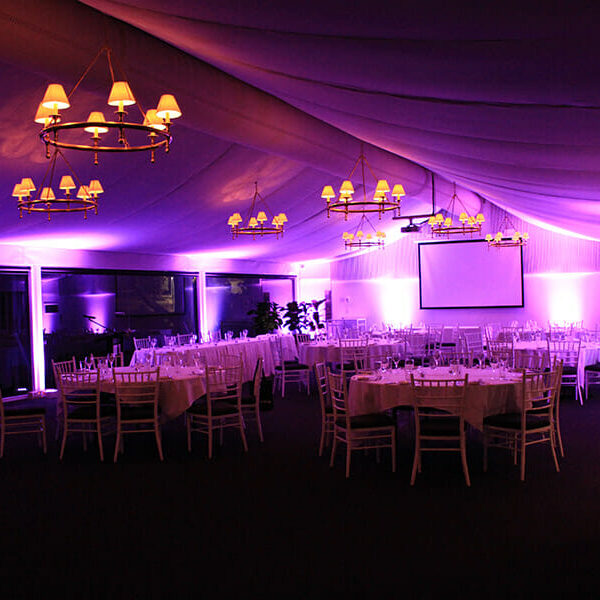 FUSHIA UPLIGHTING | Garden Marquee at Victoria Park