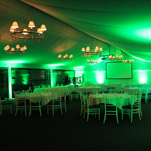 GREEN UPLIGHTING | Garden Marquee at Victoria Park