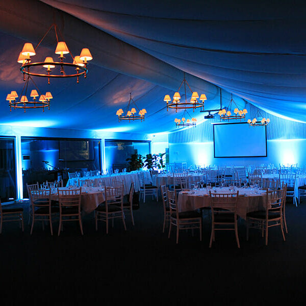 LIGHT BLUE UPLIGHTING | Garden Marquee at Victoria Park