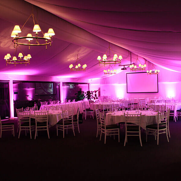 PINK UPLIGHTING | Garden Marquee at Victoria Park