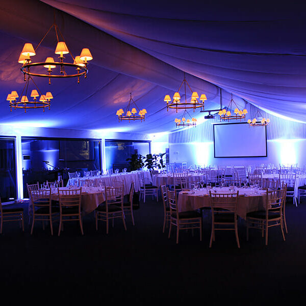 PURPLE UPLIGHTING | Garden Marquee at Victoria Park