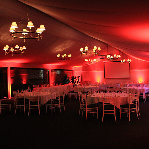 RED UPLIGHTING | Garden Marquee at Victoria Park