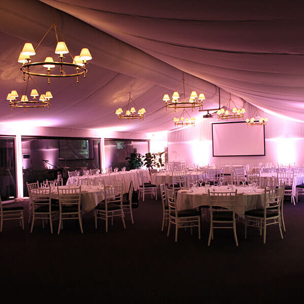 SOFT PINK UPLIGHTING | Garden Marquee at Victoria Park