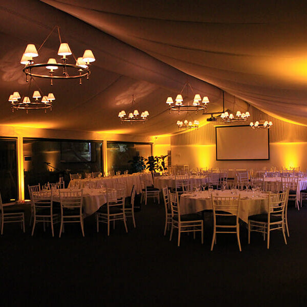 YELLOW UPLIGHTING | Garden Marquee at Victoria Park