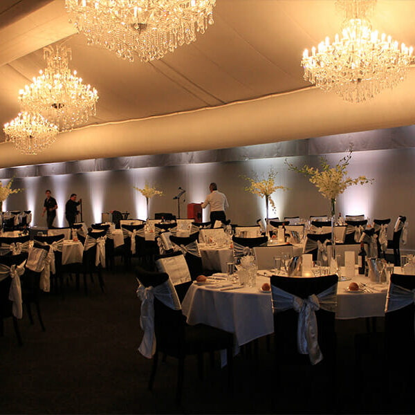 WHITE UPLIGHTING | The Marquee at Victoria Park