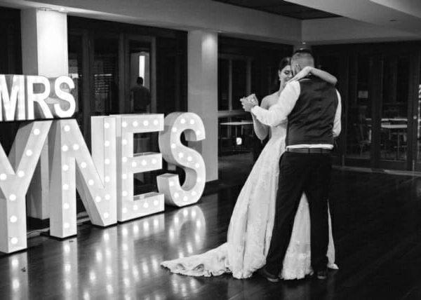 Wedding at Sirromet Wines - First Dance with Event Letters