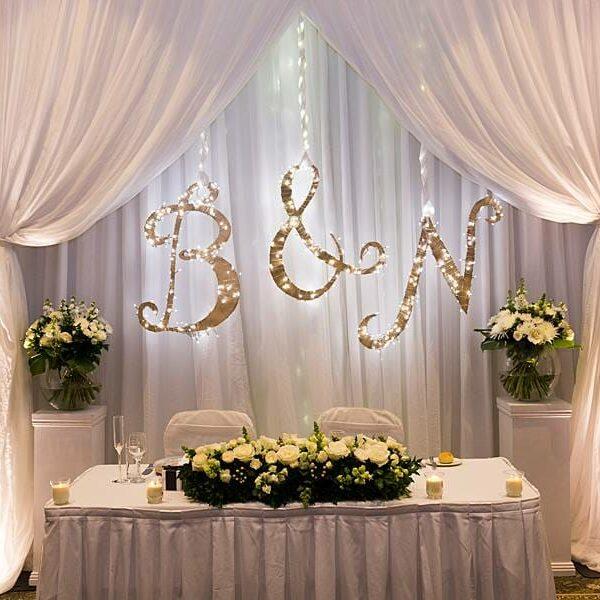 Stamford Plaza Brisbane Wedding Lighting - Bridal Table Backdrop Warm White Uplighting