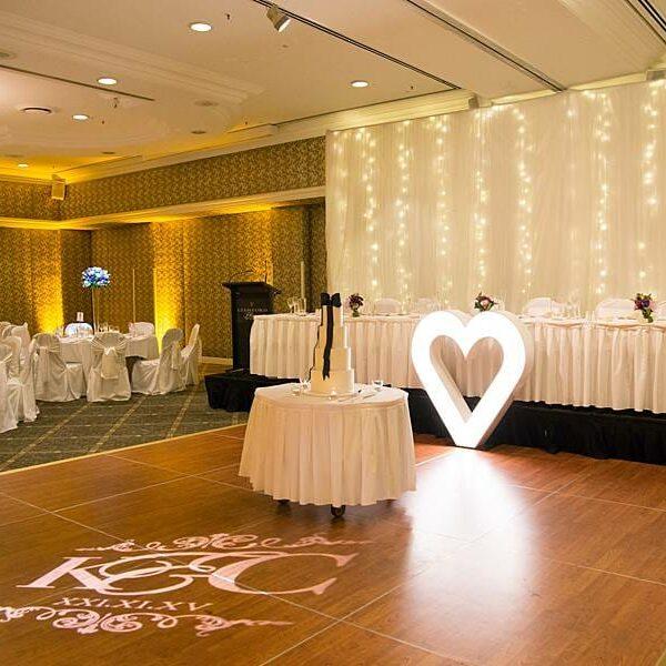 Stamford Plaza Wedding Reception - Monogram Heart Light Uplighting