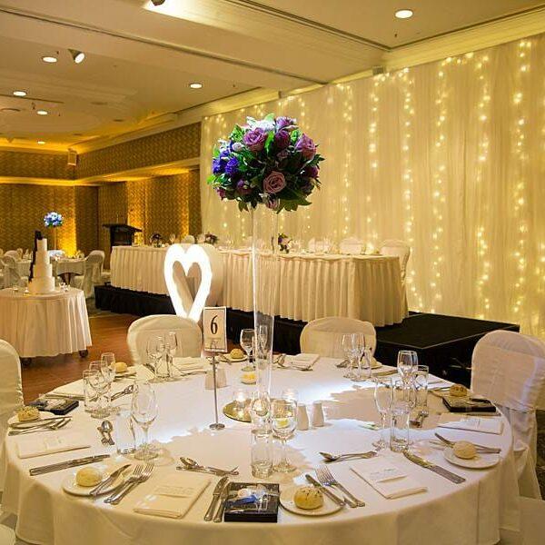 Stamford Plaza Wedding Reception - Monogram Heart Uplights Fairy Lights