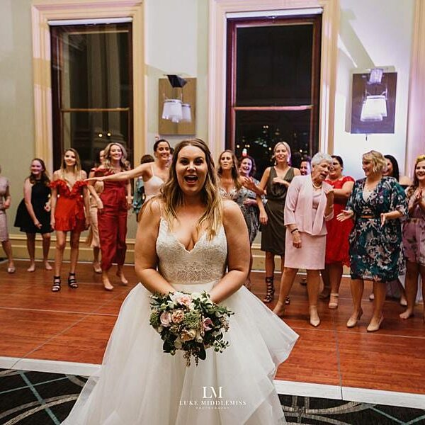 Customs House Brisbane Wedding - Bride & Bouquette Toss