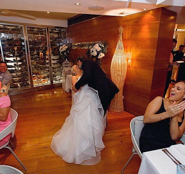 Noosa Wedding DJ Ricky's River Bar & Restaurant - Bride Groom Dip