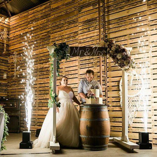 Darling Downs Bracknell Lodge Wedding - Taleah & Justin Cake Cutting Fireworks