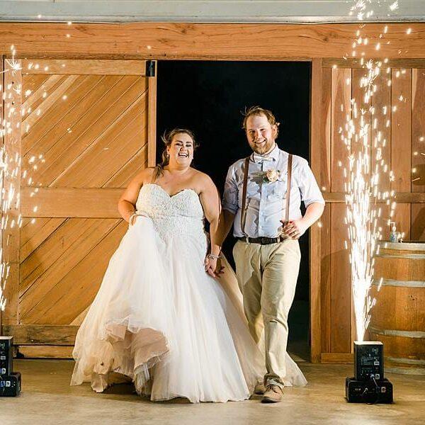 Darling Downs Bracknell Lodge Wedding - Taleah & Justin Indoor Fireworks Entrance